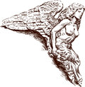 Rostral sculpture of an angel vector drawing on the body old sailing ship Stock Image