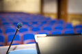 Rostrum in conference hall Royalty Free Stock Photo