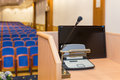 Rostrum in conference hall Royalty Free Stock Image