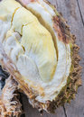 A rot broken up durian thai smell close on wooden table Royalty Free Stock Photo
