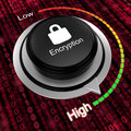 Rotary knob increase encryption cybersecurity concept