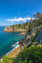 Rotary park lookout in eden new south wales the cliffs of tropical the sapphire coast situated on the magnificent waters of Stock Photos