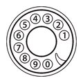 Rotary phone dial, old telephone numbers, abstract disk, retro vintage phone disc, outlined black isolated on white background, ve Royalty Free Stock Photo
