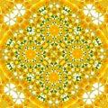 Rotate circle floral kaleidoscope yellow dandelion pattern Royalty Free Stock Photo