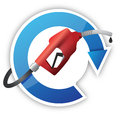 Rotating cycle with a gas pump nozzle illustration design over white background Stock Photo