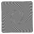 Rotation, swirl and torsion illusion. Op art design. Royalty Free Stock Photo
