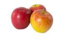 Rote frische äpfel auf weißem hintergrund Stockfoto