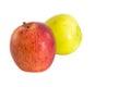 Rote frische äpfel auf weißem hintergrund Stockbild