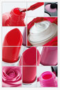 Rote make upcollage Stockfotos