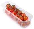 Roter cherry tomatoes in der kunststoffschale Stockbild