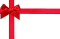 Rotes Geschenkfarbband und -bogen Stockfoto