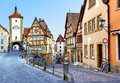 Rothenburg ob der tauber old street in bavaria germany Royalty Free Stock Photo