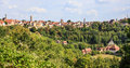 Rothenburg ob der Tauber Old town, wall and church hidden in the forest, Rothenburg ob der Tauber, Germany. Royalty Free Stock Photo