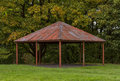 Rothes castle band stand this is a shelter within the old ruins of moray scotland Stock Photos