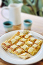 Roti with cheese dessert hot tea Stock Photo