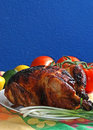 Rotisserie Chicken on Platter Royalty Free Stock Image