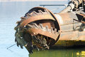 Rotor with blade of a big dredge in a channel Royalty Free Stock Photography