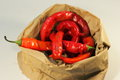 Rotten chili paper bag with soft focus Royalty Free Stock Photos