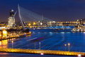 Rotterdam bridges twilight beautiful view on the over the river maas meuse in the netherlands Royalty Free Stock Images