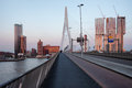 Rotterdam downtown skyline at sunset view from the erasmus bridge south holland netherlands Stock Image