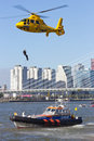 Rotterdam world harbor days holland september demonstration of a rescue operation by with a helicopter during the in Royalty Free Stock Images