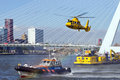 Rotterdam world harbor days holland september demonstration of a rescue operation by with a helicopter during the in Royalty Free Stock Image