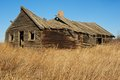 Rotting old house in a grassy fieldwood weathered and broken Stock Images