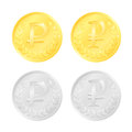 Rouble coins gold and silver colored Stock Photography