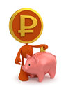 Rouble piggy bank account cartoon coin man putting money in Stock Image