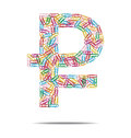 Rouble symbol clips design created a with many multicolored Stock Image