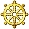Roue d'or de symbole du bouddhisme 3D de Dharma Photos stock
