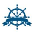 Roue de bateau avec la bannière emblème nautique Photographie stock libre de droits