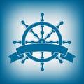 Roue de bateau avec la bannière emblème nautique Photos libres de droits