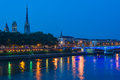 Rouen at a summer night cityscape of in the Stock Photos