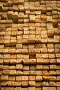 Rough cut lumber pile of stacked at a sawmill Royalty Free Stock Image