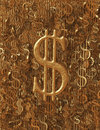 Rough gold metallic usd dollar symbol background numerous symbols make up the for one single large sign set in the center Stock Image