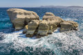 Rough sea at Sarakiniko rocks, Milos, Greece Royalty Free Stock Image
