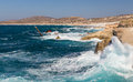 Rough sea at sarakiniko shipwreck milos island c is situated on the north shore of Stock Image