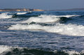 Rough seas choppy sea in is aruttas in sardinia Royalty Free Stock Image