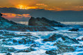 Rough seas at dusk image is taking during the soltice sunrise Royalty Free Stock Image