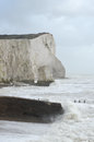 Rough seas at seaford beach during a storm east sussex uk Royalty Free Stock Photography