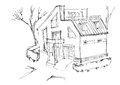 A rough sketch of a modern home. Sketch of the cottage in the country. Royalty Free Stock Photo