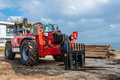 Rough terrain forklift machine telehandler Stock Photos