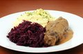Roulade with mashed potatoes and red cabbage Royalty Free Stock Photography