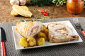 Roulade of stuffed chicken with potatoes Royalty Free Stock Photo