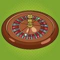 Roulette in casino pop art style vector