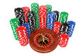 Roulette Wheel with Colorful Poker Casino Chips. 3d Rendering Royalty Free Stock Photo