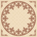 Round arabic vector ornament on light beige patter