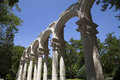 Round arches medieval and columns in burgos spain Royalty Free Stock Photo