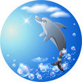 Round background with dolphin, clouds and bubbles Stock Image